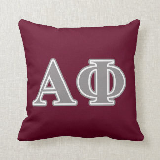 Alpha Phi Silver Letters Cushion