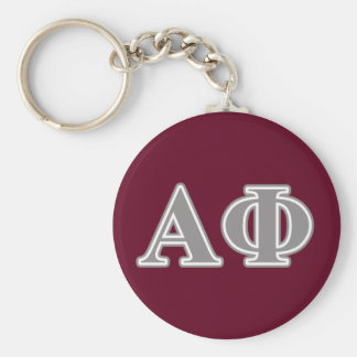 Alpha Phi Silver Letters Key Ring