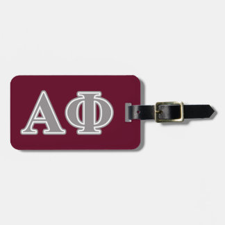 Alpha Phi Silver Letters Luggage Tag