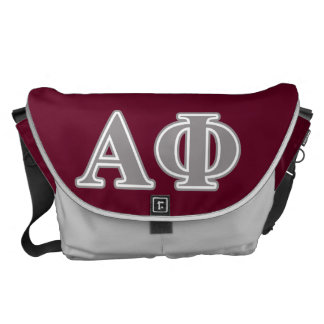 Alpha Phi Silver Letters Courier Bags