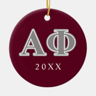 Alpha Phi Silver Letters Round Ceramic Decoration