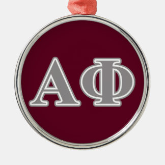 Alpha Phi Silver Letters Silver-Colored Round Decoration