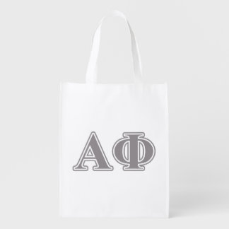 Alpha Phi Silver Letters Grocery Bag