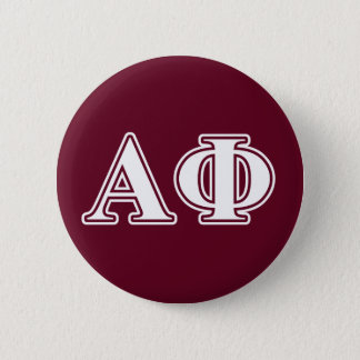 Alpha Phi White and Bordeau Letters 6 Cm Round Badge