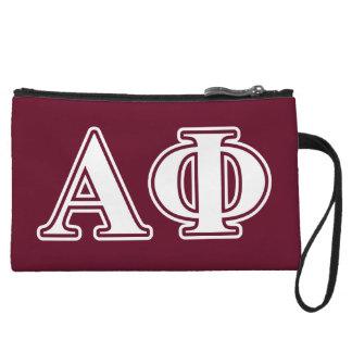 Alpha Phi White and Bordeau Letters Wristlet Purses
