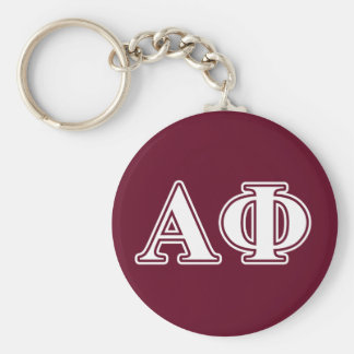 Alpha Phi White and Bordeau Letters Basic Round Button Key Ring