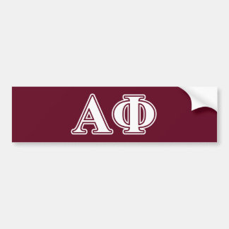 Alpha Phi White and Bordeau Letters Bumper Sticker