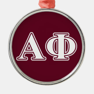 Alpha Phi White and Bordeau Letters Christmas Ornament
