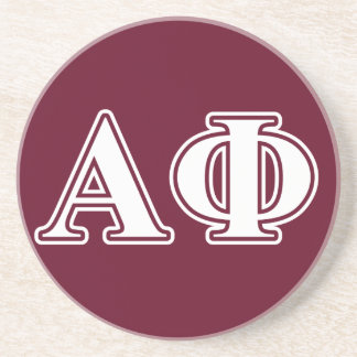 Alpha Phi White and Bordeau Letters Drink Coaster