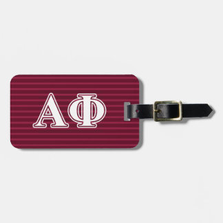Alpha Phi White and Bordeau Letters Luggage Tag
