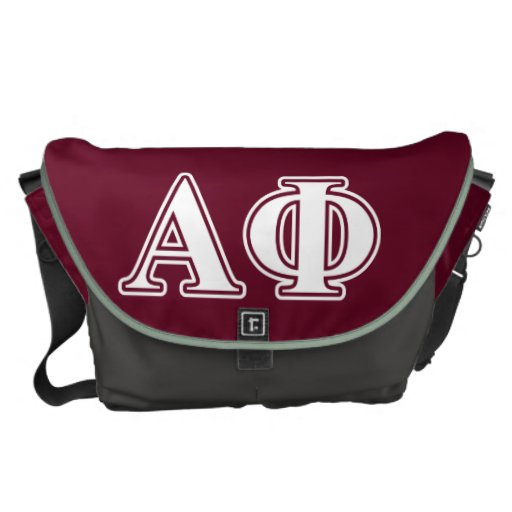 Alpha Phi White and Bordeau Letters Messenger Bags