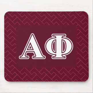 Alpha Phi White and Bordeau Letters Mouse Mat