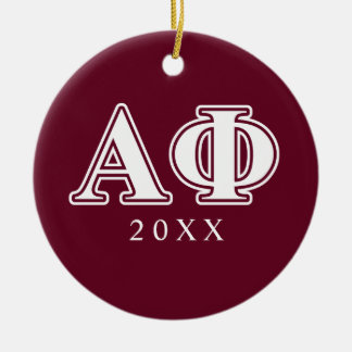 Alpha Phi White and Bordeau Letters Round Ceramic Decoration