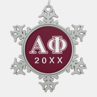 Alpha Phi White and Bordeau Letters Snowflake Pewter Christmas Ornament
