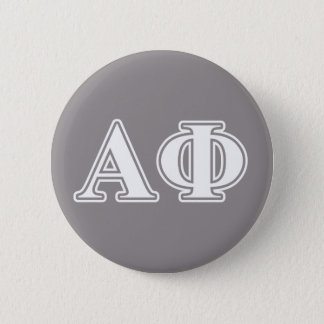 Alpha Phi White and Silver Letters 6 Cm Round Badge