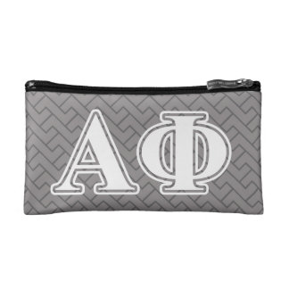 Alpha Phi White and Silver Letters Cosmetic Bag