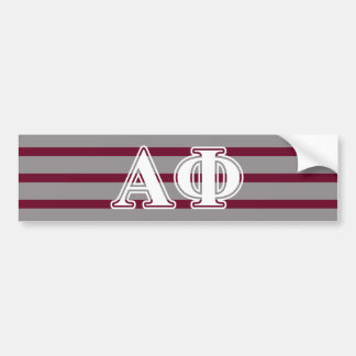 Alpha Phi White and Silver Letters Bumper Sticker
