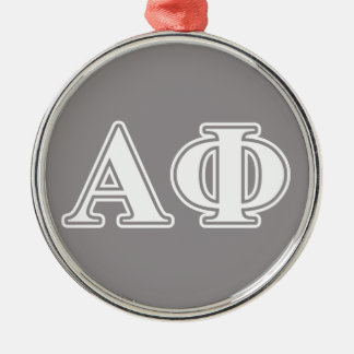 Alpha Phi White and Silver Letters Christmas Ornament