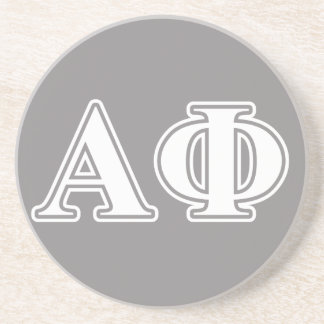 Alpha Phi White and Silver Letters Coaster