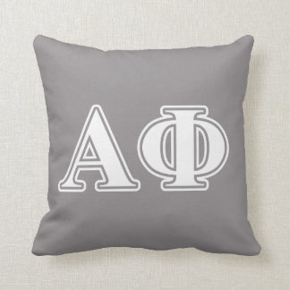 Alpha Phi White and Silver Letters Cushion
