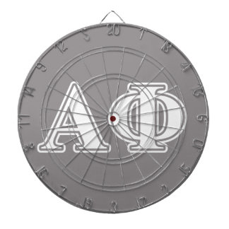 Alpha Phi White and Silver Letters Dartboard