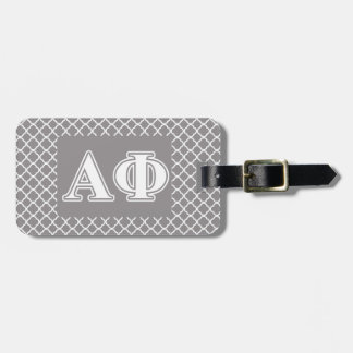Alpha Phi White and Silver Letters Luggage Tag
