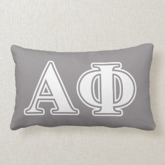 Alpha Phi White and Silver Letters Lumbar Cushion