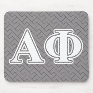 Alpha Phi White and Silver Letters Mouse Mat