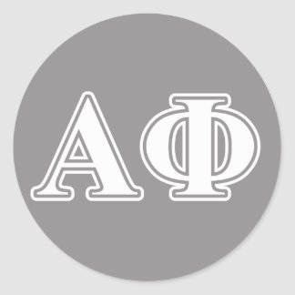 Alpha Phi White and Silver Letters Round Sticker