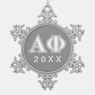 Alpha Phi White and Silver Letters Snowflake Pewter Christmas Ornament