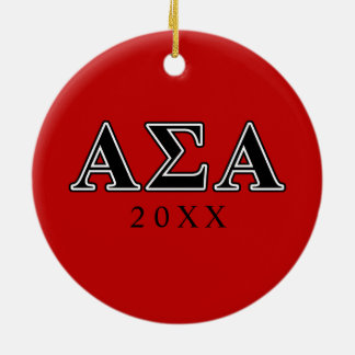 Alpha Sigma Alpha Black Letters Christmas Ornament