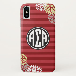 Alpha Sigma Alpha | Monogram Stripe Pattern iPhone X Case