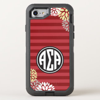 Alpha Sigma Alpha | Monogram Stripe Pattern OtterBox Defender iPhone 7 Case