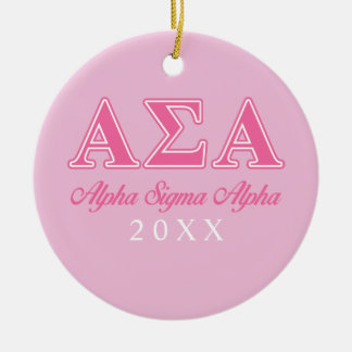 Alpha Sigma Alpha Pink Letters Christmas Ornament