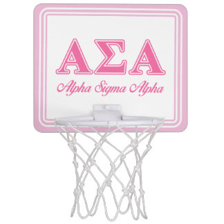Alpha Sigma Alpha Pink Letters Mini Basketball Hoop