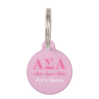 Alpha Sigma Alpha Pink Letters Pet Name Tag