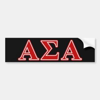 Alpha Sigma Alpha Red Letters Bumper Sticker