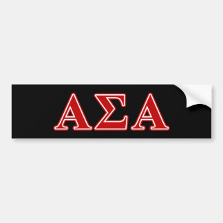 Alpha Sigma Alpha Red Letters Bumper Sticker