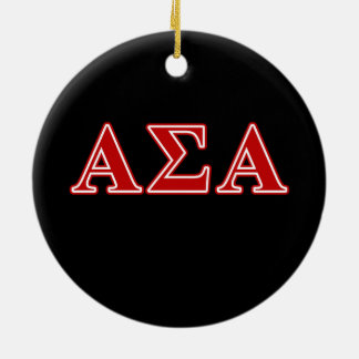 Alpha Sigma Alpha Red Letters Christmas Ornament