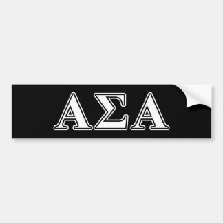 Alpha Sigma Alpha White and Black Letters Bumper Sticker