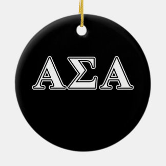 Alpha Sigma Alpha White and Black Letters Christmas Ornament