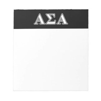 Alpha Sigma Alpha White and Black Letters Notepad