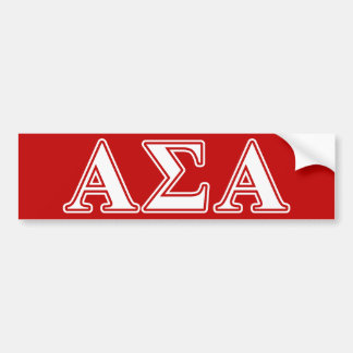 Alpha Sigma Alpha White and Red Letters Bumper Sticker