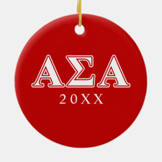 Alpha Sigma Alpha White and Red Letters Christmas Ornament