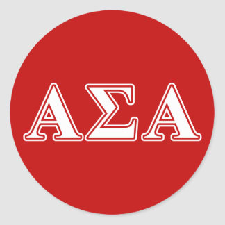 Alpha Sigma Alpha White and Red Letters Round Sticker