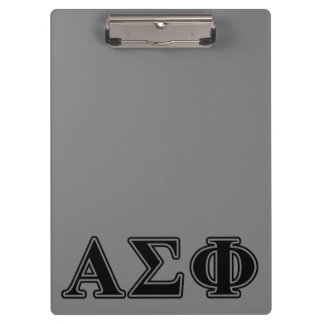 Alpha Sigma Phi Black Letters Clipboard