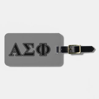 Alpha Sigma Phi Black Letters Luggage Tag