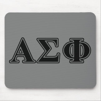 Alpha Sigma Phi Black Letters Mouse Mat