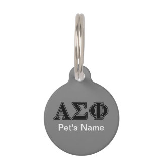 Alpha Sigma Phi Black Letters Pet Tag