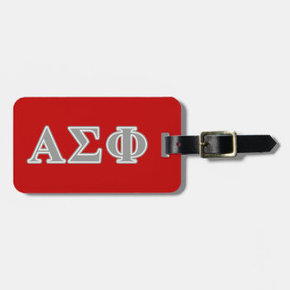 Alpha Sigma Phi Grey Letters Luggage Tag